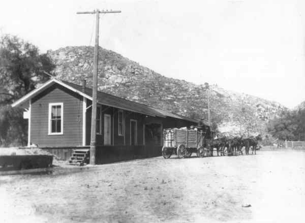 Mountain freighter leaving Foster Station to Ramona, Santa Ysabel and Julian. c.1880
