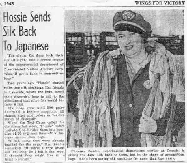 Flossie sends back silk 1943